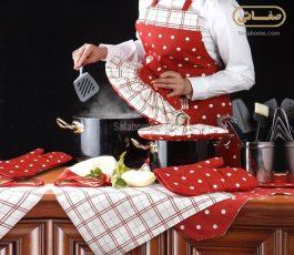 سرویس آشپزخانه رزین تاژ طرح خالدار قرمز