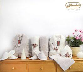 سرویس حوله تن پوش عروس و داماد بژ سفید