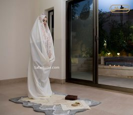 چادر نماز و مقنعه عروس طرح تسنیم
