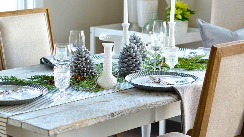 میوههای کاج برای • تزیین میز ناهارخوری مستطیل
