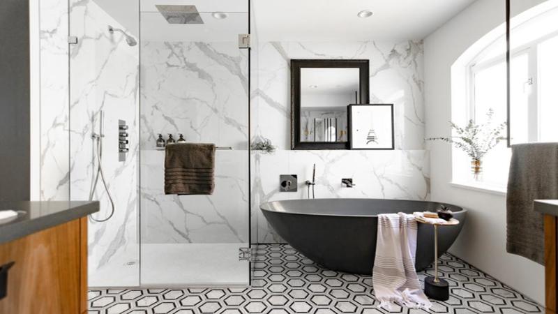 بهترین چیدمان دکوراسیون برای حمام دستشوییهای مشترک - صفاهوم