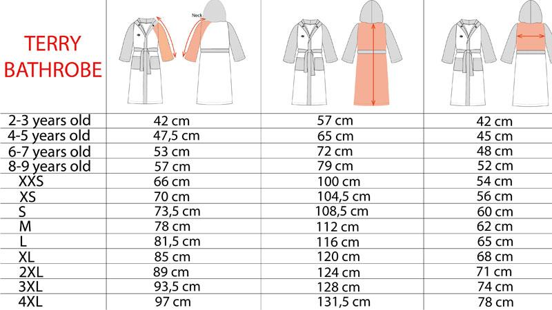 جدول سایز بندی حوله تن پوش در صفاهوم